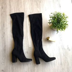 Knee High Suede Round Tip Boots